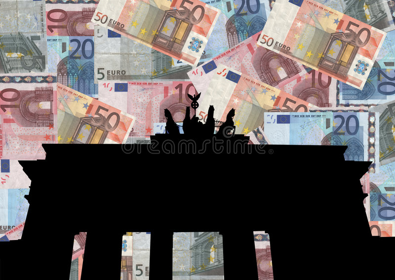 Brandenburg gate with euros stock illustration
