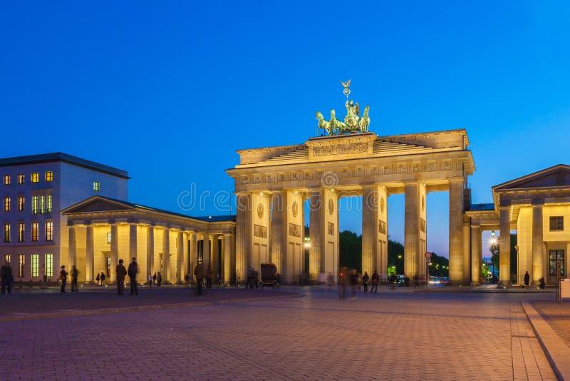 Brandenburg gate illuminated in Berlin, Germany stock images