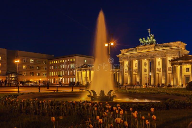 Brandenburg gate illuminated in Berlin, Germany royalty free stock images