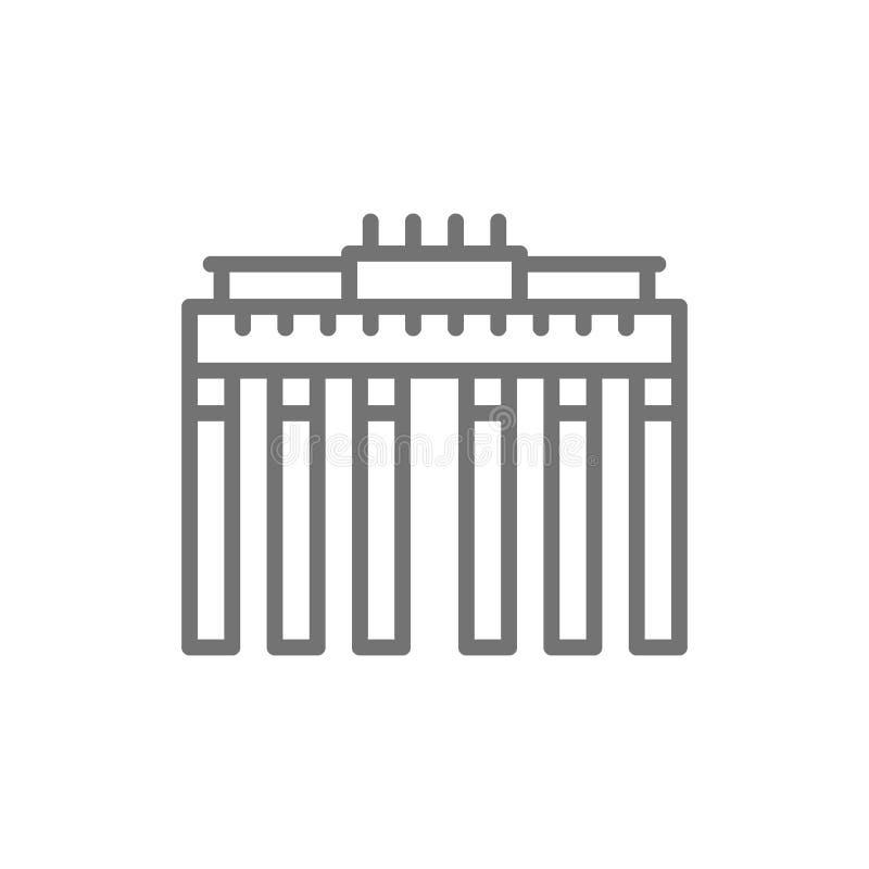 Brandenburg Gate, landmark of Berlin, German line icon. royalty free illustration