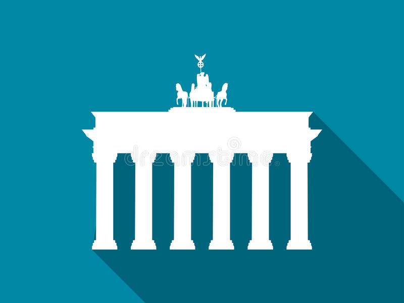 Brandenburg Gate with long shadow. Flat icon. Vector. Illustration royalty free illustration