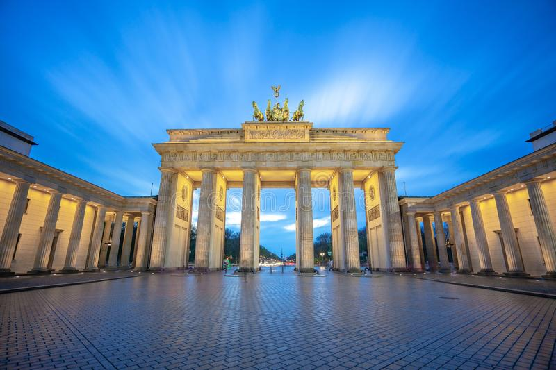 The Brandenburg Gate monument in Berlin city, Germany stock photography