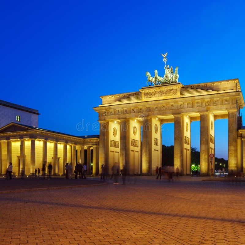 Brandenburg Gate at Night, Berlin, Germany royalty free stock photos