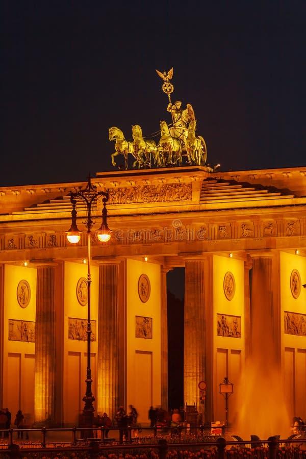Brandenburg Gate at Night, Berlin, Germany stock photo