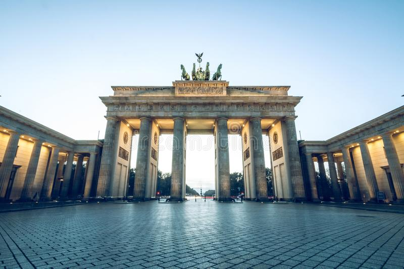 Brandenburg gate without persons an blue sky stock photography