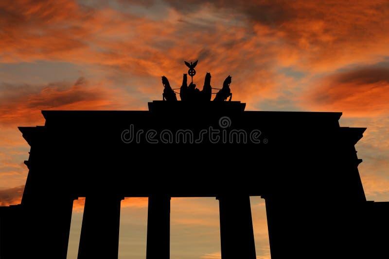 Brandenburg gate at sunset. With beautiful sky illustration vector illustration