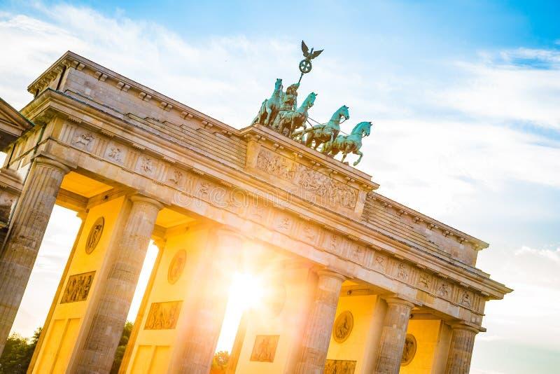 Brandenburg Gate at sunset, Berlin, Germany stock image