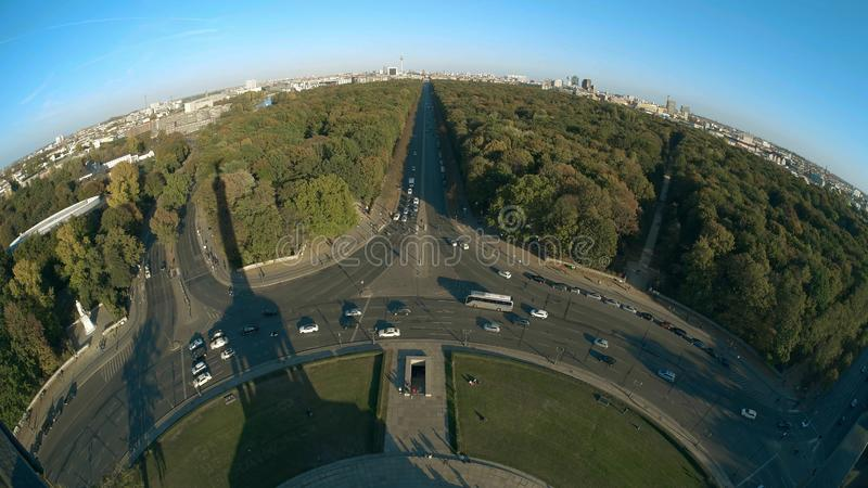 Brandenburg Gate and TV Tower and Victory column shadow, fisheye lens shot. Berlin, Germany royalty free stock photo