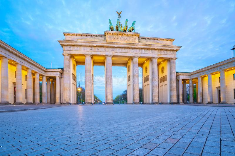The Brandenburg Gate at twilight the famous place in Berlin, Germany stock photos