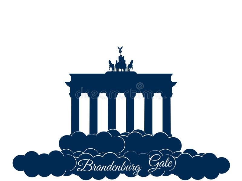 Brandenburger brama odizolowywająca na białym tle Brandenburger tor w chmurach Symbol Berlin i Niemcy wektor ilustracja wektor
