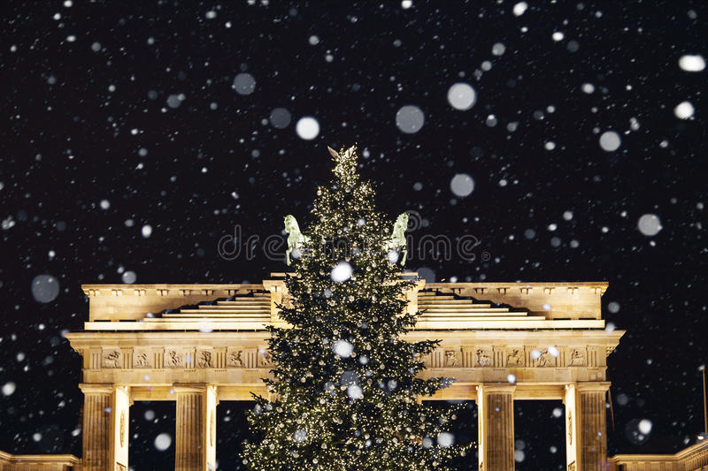 Brandenburger gate in Berlin at christmas time royalty free stock photography