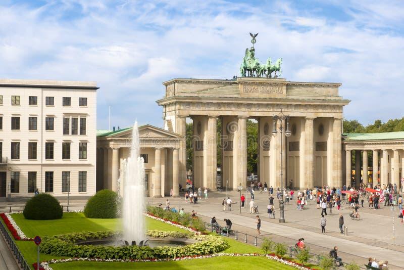 Brandenburg Gate and Pariser Platz with fountain, Berlin, Germany stock image