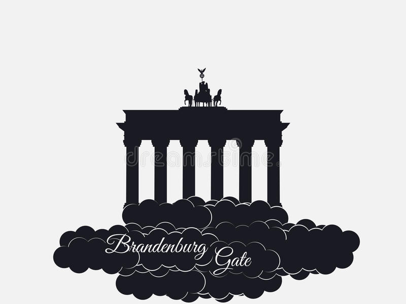 Brandenburger gate isolated on white background. Brandenburger tor in the clouds. The symbol of Berlin and Germany. Vector illustration vector illustration