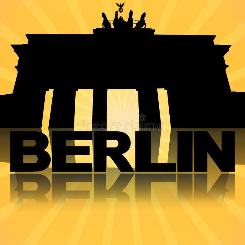 Brandenburger Tor Berlin reflektiert mit Sonnendurchbruch stock abbildung