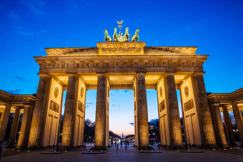 Brandenburger Tor. In Berlin at sunset stock photography