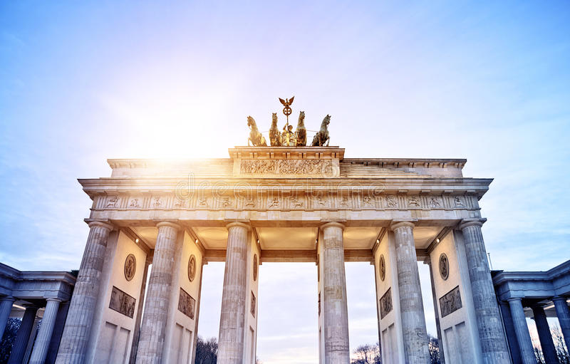 Brandenburger Tor. In the evening sun, Berlin, Germany royalty free stock photos