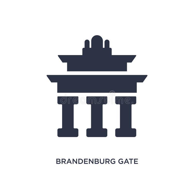 Brandenburger Tor Ikone auf weißem Hintergrund Einfache Elementillustration vom Gebäudekonzept stock abbildung