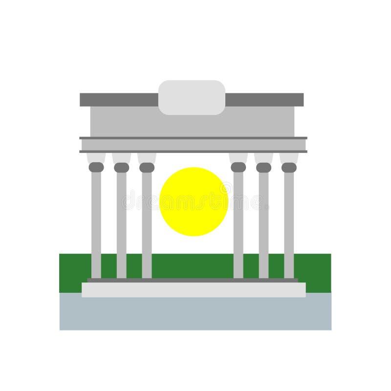 Brandenburger Tor Ikonenvektorzeichen und -symbol lokalisiert auf weißem b lizenzfreie abbildung