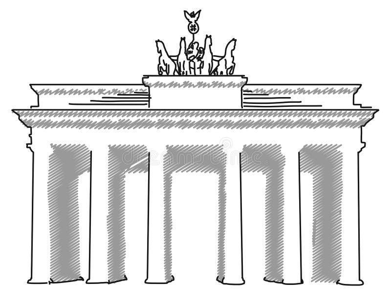 Brandenburgerpoort Berlijn, Vectorschets stock illustratie