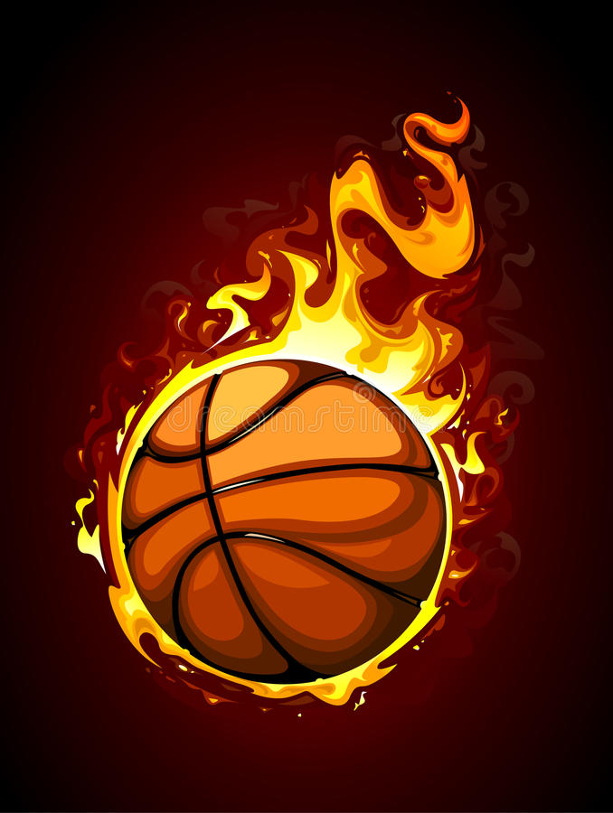 Brandend basketbal vector illustratie