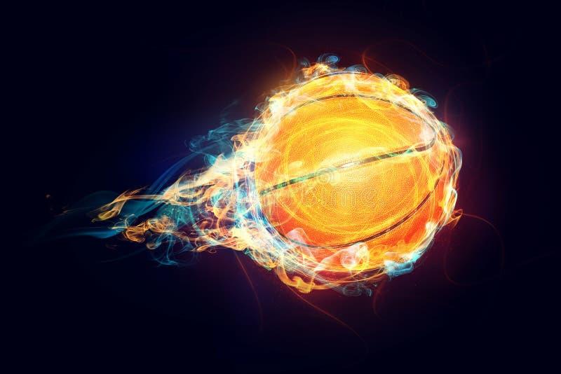 Brandend basketbal royalty-vrije stock fotografie