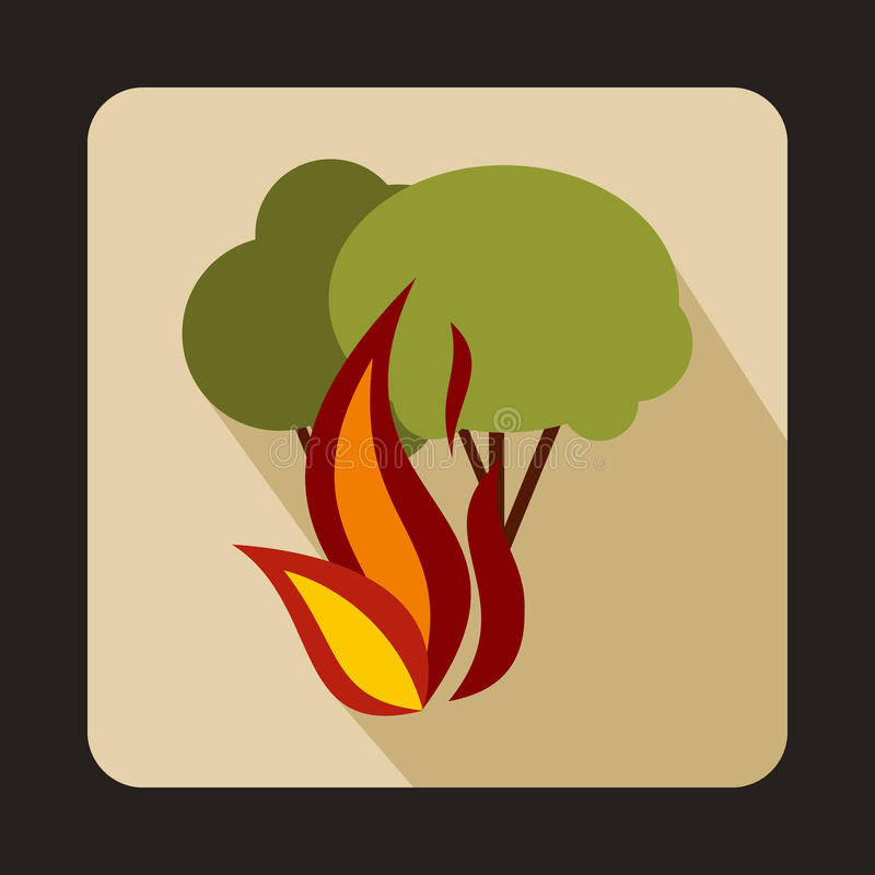 Brandend bosbomenpictogram, vlakke stijl royalty-vrije illustratie