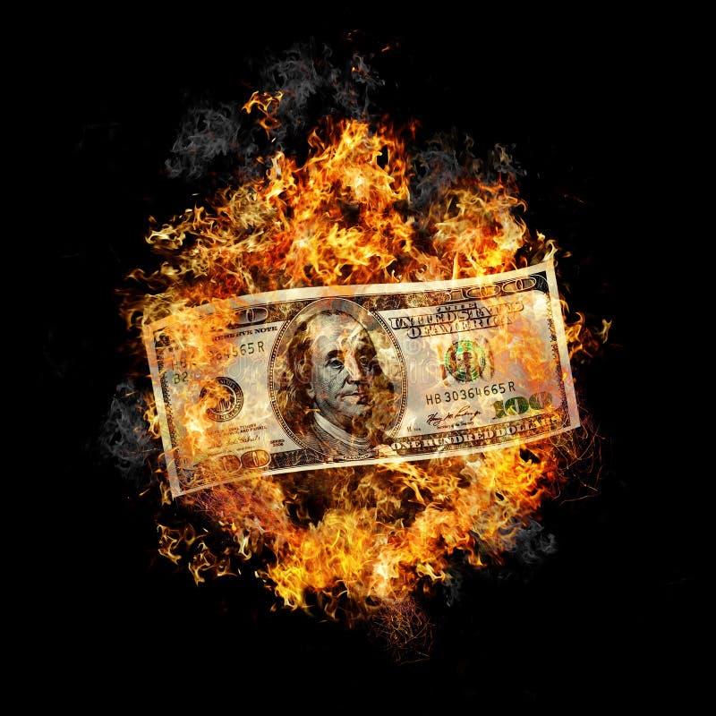 Brandend geld stock afbeeldingen