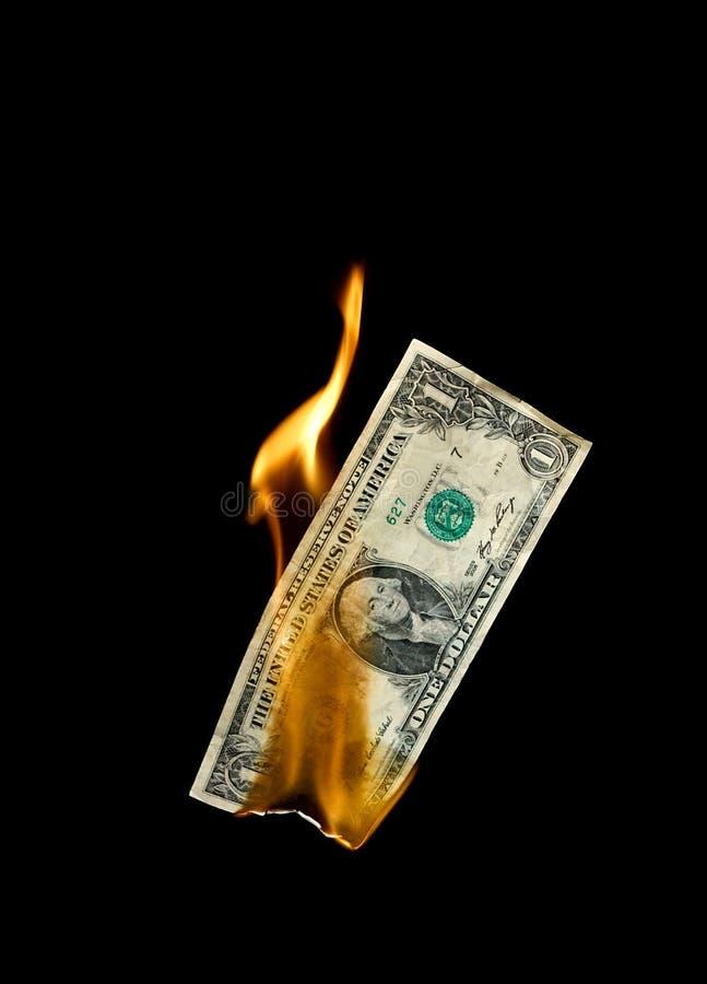 Brandend Geld stock fotografie