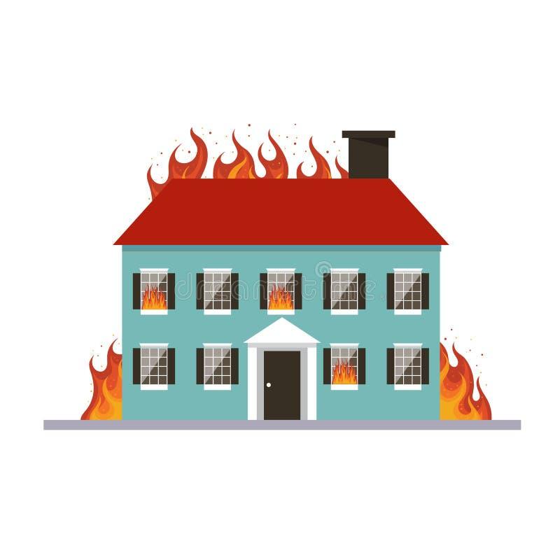 Brandend huis Vlam in huis op witte achtergrond wordt geïsoleerd die Brandverzekeringmalplaatje ongeval royalty-vrije illustratie