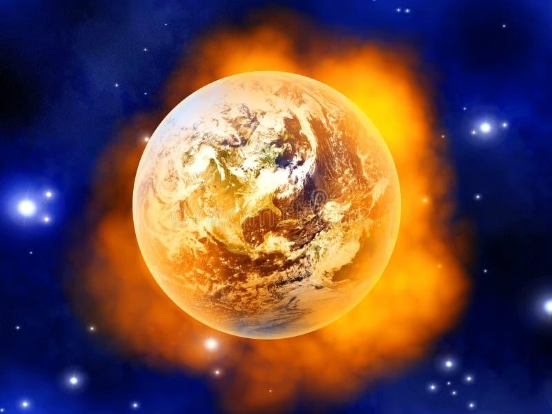 Brandende Aarde stock illustratie