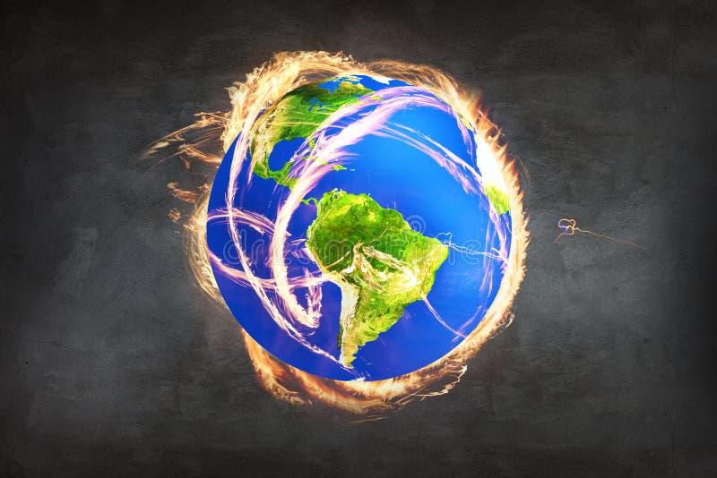 Brandende Aarde als symbool van apocalyps stock foto