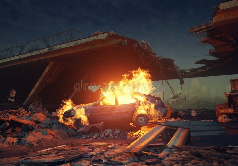 Brandende auto in de weg vector illustratie