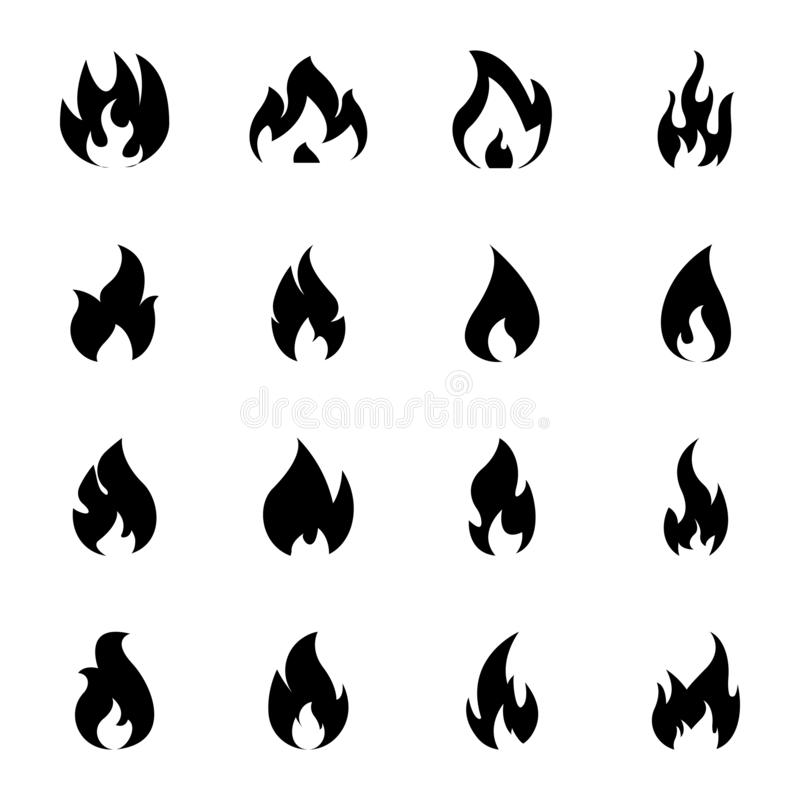 Brandende brandpictogrammen royalty-vrije illustratie