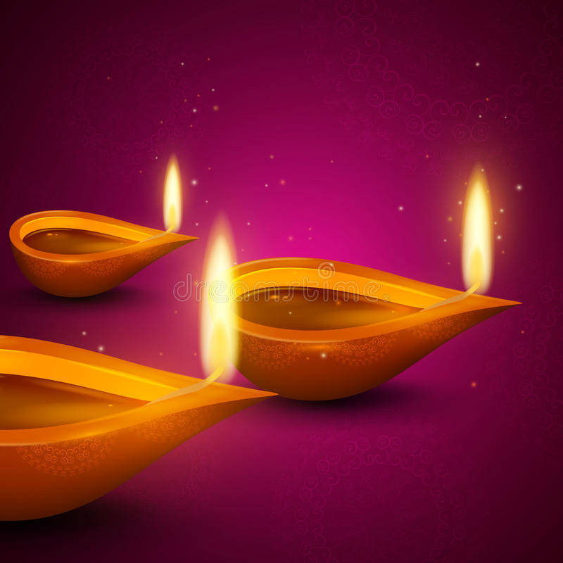 Brandende Diya Lamps stock illustratie