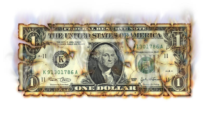 Brandende Dollar stock illustratie