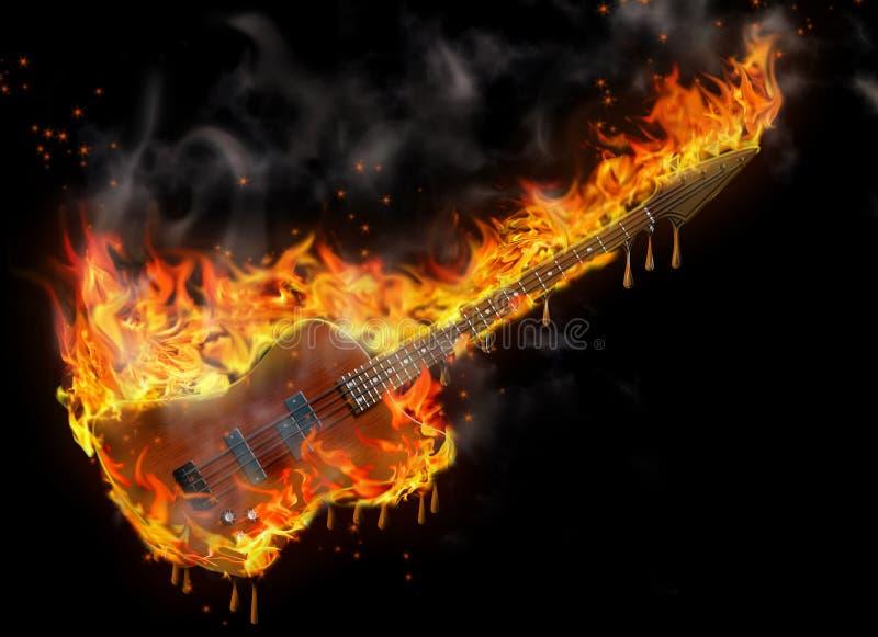 Brandende en smeltende basgitaar vector illustratie