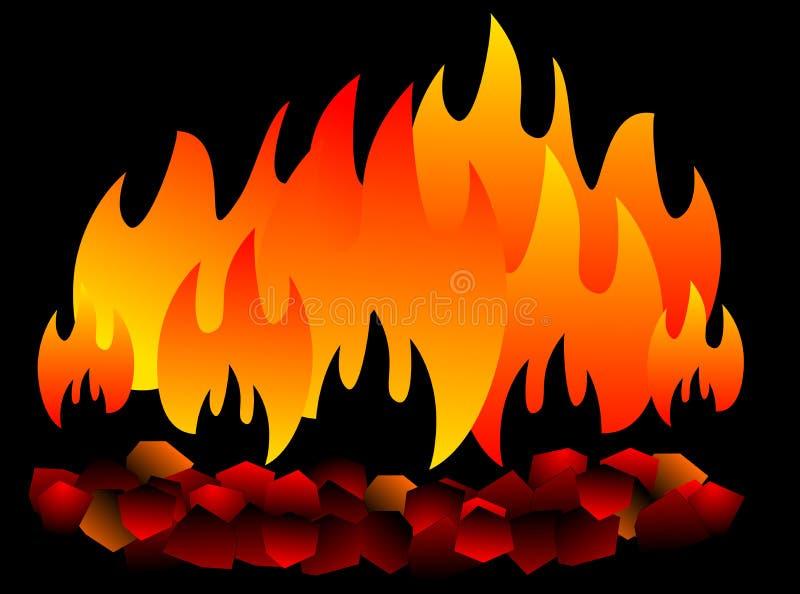 Brandende geïsoleerde steenkool hete Steenkool op zwarte achtergrond vector illustratie