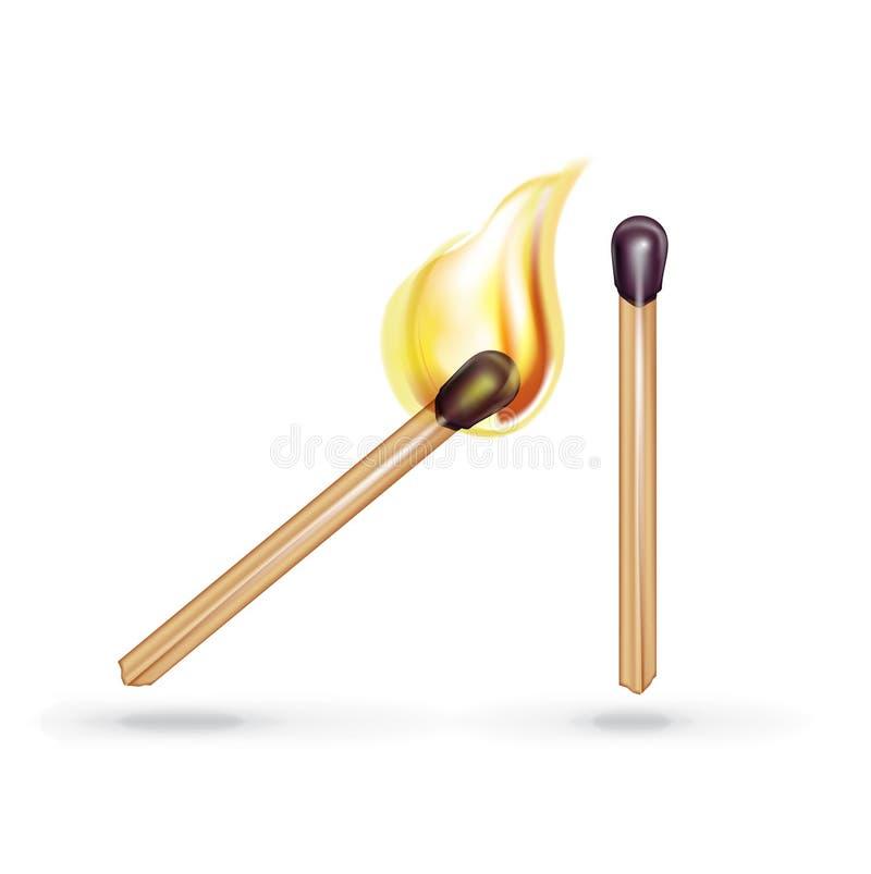 Brandende gelijke en enige die gelijke op wit wordt geïsoleerd vector illustratie