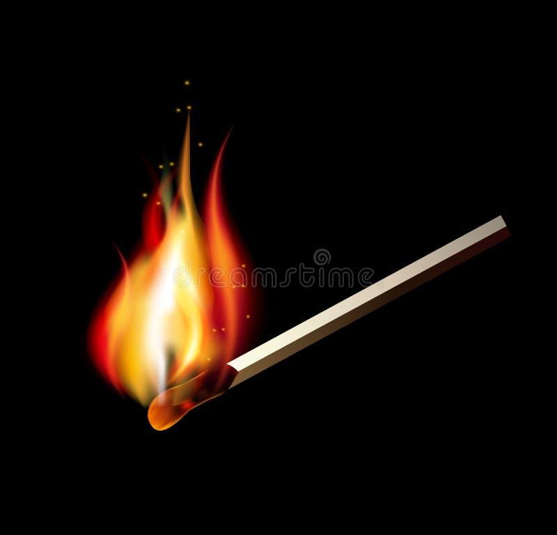 Brandende gelijke op een zwarte achtergrond voor ontwerp vector illustratie