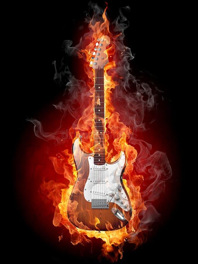 Brandende gitaar stock illustratie