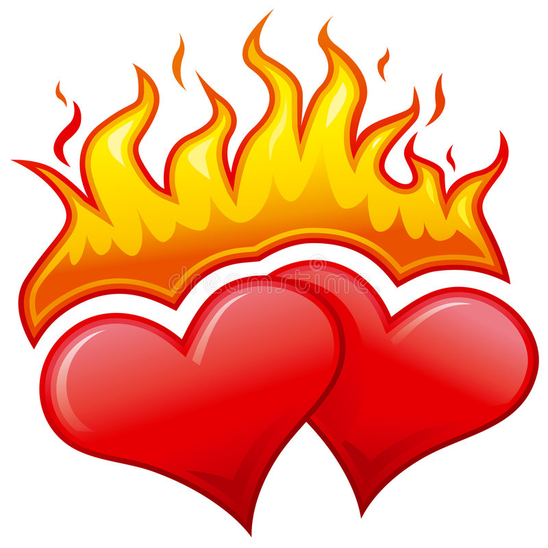 Brandende harten stock illustratie