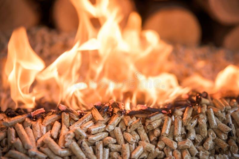 Brandende houten korrels royalty-vrije stock afbeelding