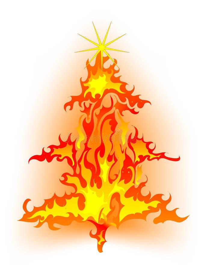 Brandende Kerstmisboom vector illustratie