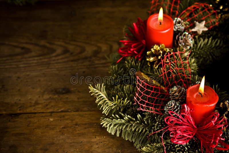 Brandende Kerstmiskroon stock fotografie