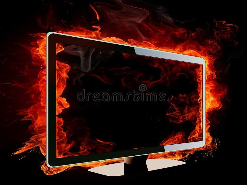 Brandende lcd TV royalty-vrije illustratie
