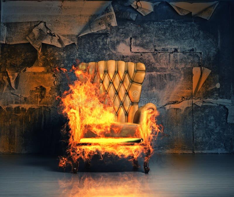 Brandende leunstoel royalty-vrije illustratie