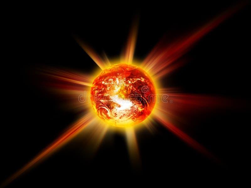Brandende planeet royalty-vrije illustratie