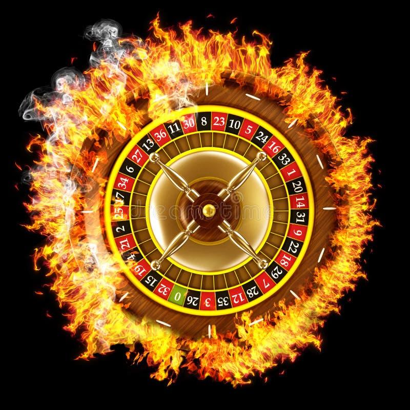 Brandende roulette op zwarte royalty-vrije illustratie
