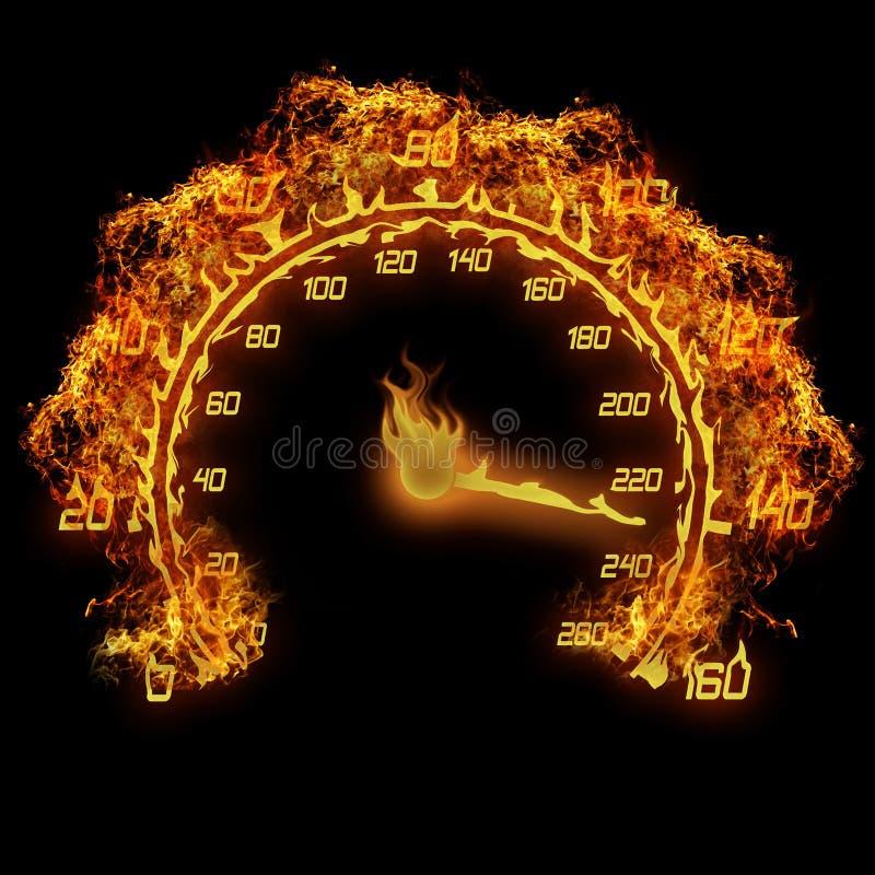 Brandende snelheidsmeter stock illustratie
