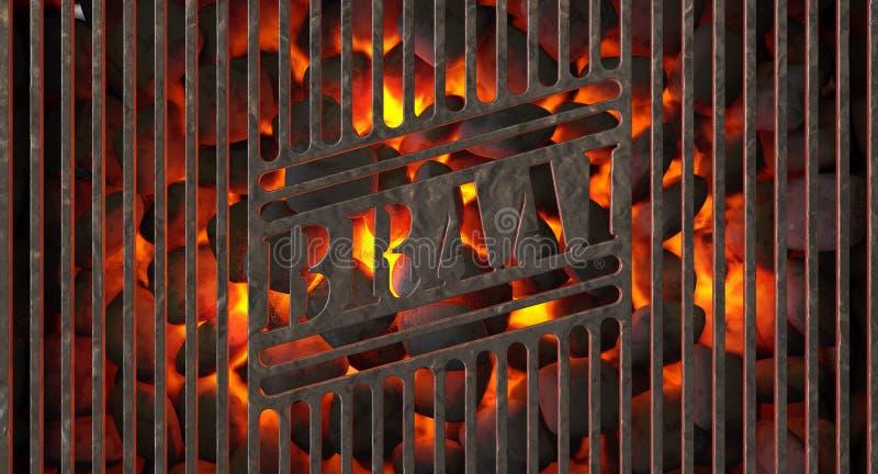 Brandende Steenkool en Braai-Grill stock illustratie